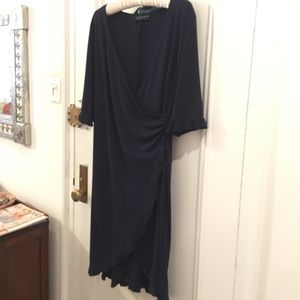 Dresses & Skirts - Blue wrap dress w-3/4 sleeves & scalloped edges